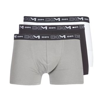 Alusvaatteet Miehet Bokserit DIM COTON STRETCH X3 Black / Grey / White