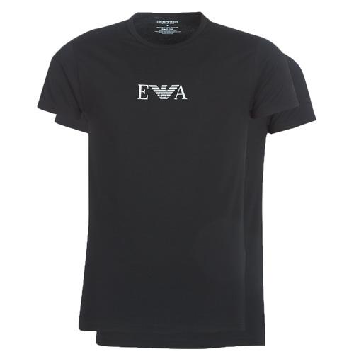 vaatteet Miehet Lyhythihainen t-paita Emporio Armani CC715-PACK DE 2 Musta