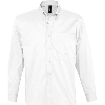 vaatteet Miehet Pitkähihainen paitapusero Sols BEL-AIR TWILL MEN Blanco