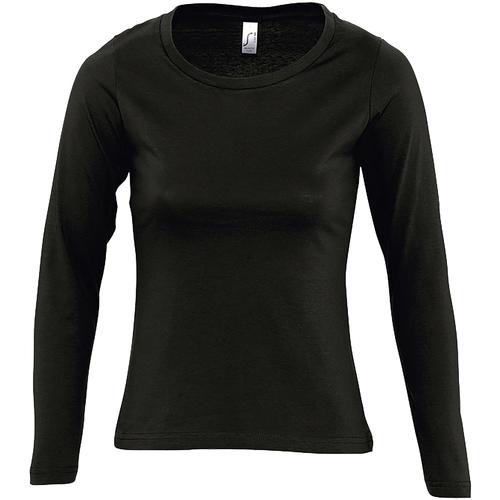 vaatteet Naiset T-paidat pitkillä hihoilla Sols MAJESTIC COLORS GIRL Negro