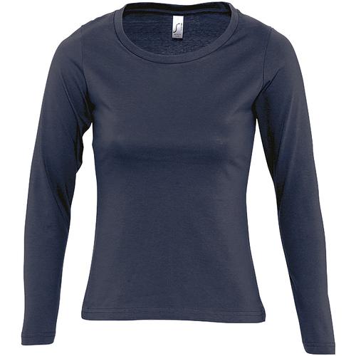 vaatteet Naiset T-paidat pitkillä hihoilla Sols MAJESTIC COLORS GIRL Azul
