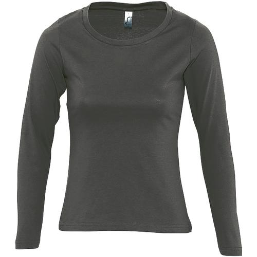 vaatteet Naiset T-paidat pitkillä hihoilla Sols MAJESTIC COLORS GIRL Gris