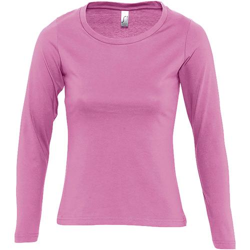 vaatteet Naiset T-paidat pitkillä hihoilla Sols MAJESTIC COLORS GIRL Rosa