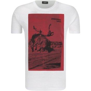 vaatteet Miehet Lyhythihainen t-paita Dsquared S71GD0712 White