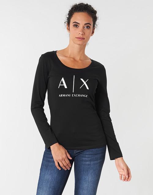 vaatteet Naiset T-paidat pitkillä hihoilla Armani Exchange 8NYTDG-YJ16Z-1200 Musta