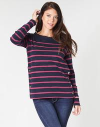 vaatteet Naiset T-paidat pitkillä hihoilla Armor Lux BRIAN Laivastonsininen / Pink