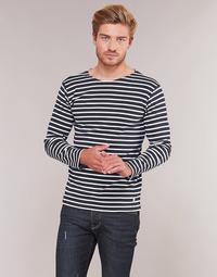vaatteet Miehet T-paidat pitkillä hihoilla Armor Lux VERMO Laivastonsininen / White