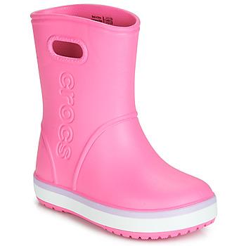 kengät Tytöt Kumisaappaat Crocs CROCBAND RAIN BOOT K Vaaleanpunainen