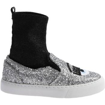 kengät Naiset Korkeavartiset tennarit Chiara Ferragni CF 2094 SILVER-BLACK argento