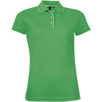 vaatteet Naiset Lyhythihainen poolopaita Sols PERFORMER SPORT WOMEN Verde