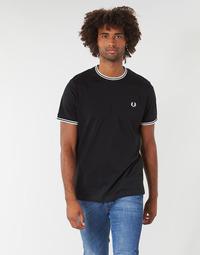 vaatteet Miehet Lyhythihainen t-paita Fred Perry TWIN TIPPED T-SHIRT Musta