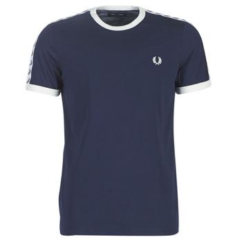 vaatteet Miehet Lyhythihainen t-paita Fred Perry TAPED RINGER T-SHIRT Laivastonsininen