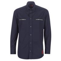 vaatteet Miehet Pitkähihainen paitapusero HUGO ETRUS Laivastonsininen