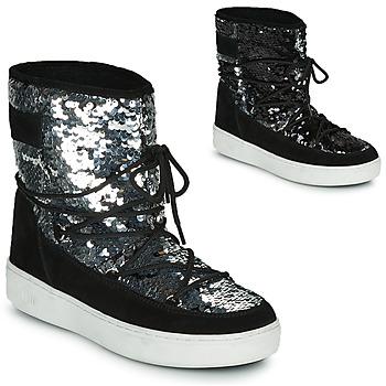kengät Naiset Talvisaappaat Moon Boot MOON BOOT PULSE MID DISCO Black / Paljetti