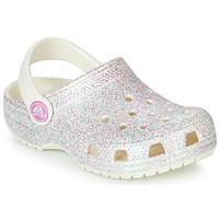 kengät Tytöt Puukengät Crocs CLASSIC GLITTER CLOG K White