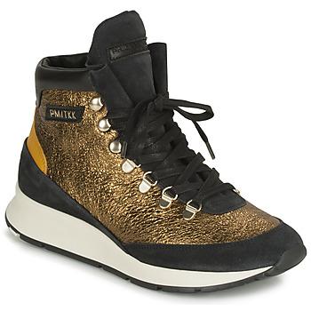kengät Naiset Korkeavartiset tennarit Philippe Model MONTECARLO Kulta / Musta