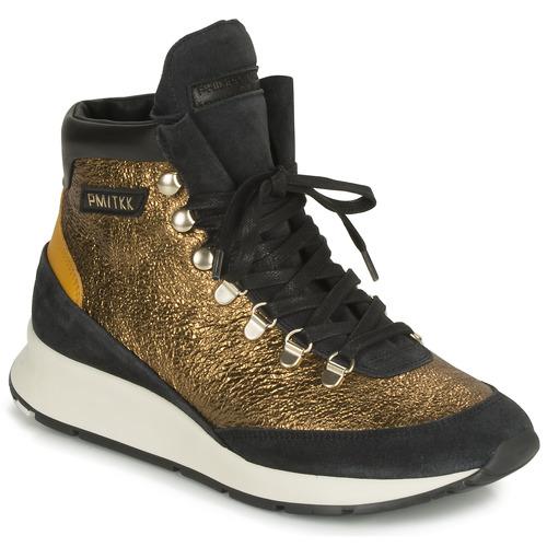 kengät Naiset Korkeavartiset tennarit Philippe Model MONTECARLO Kulta / Black