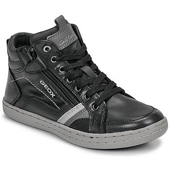 kengät Pojat Korkeavartiset tennarit Geox JR GARCIA BOY Black / Grey