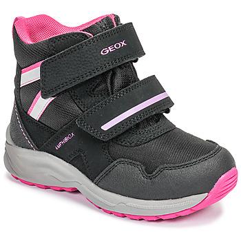kengät Tytöt Talvisaappaat Geox J KURAY GIRL B ABX Black / Pink
