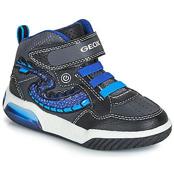 kengät Pojat Korkeavartiset tennarit Geox J INEK BOY Black / Blue