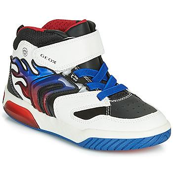 kengät Pojat Korkeavartiset tennarit Geox J INEK BOY White / Blue