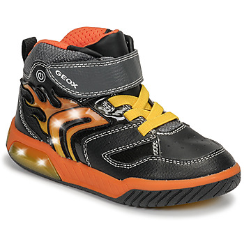 kengät Pojat Korkeavartiset tennarit Geox J INEK BOY Black / Orange
