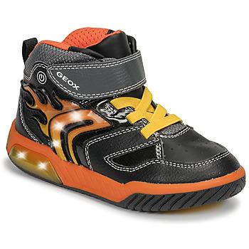 kengät Pojat Korkeavartiset tennarit Geox J INEK BOY Black / Orange
