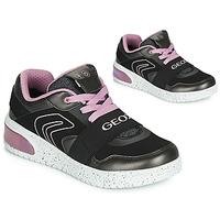 kengät Tytöt Korkeavartiset tennarit Geox J XLED GIRL Musta / Vaaleanpunainen