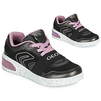 kengät Tytöt Korkeavartiset tennarit Geox J XLED GIRL Black / Pink