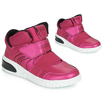 kengät Tytöt Korkeavartiset tennarit Geox J XLED GIRL Pink / Fuksia / Black