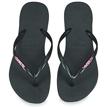 kengät Naiset Varvassandaalit Havaianas SLIM LOGO METALLIC Black