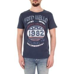vaatteet Miehet Lyhythihainen t-paita Fred Mello FM19S09TG Blu
