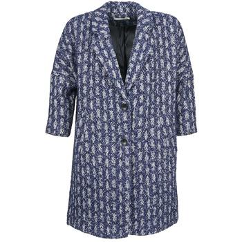 vaatteet Naiset Paksu takki See U Soon RIFFLE Blue / White