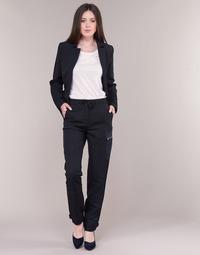vaatteet Naiset Reisitaskuhousut G-Star Raw FELDSPAR HIGH STRAIGHT CARGO Laivastonsininen