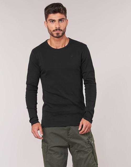 vaatteet Miehet T-paidat pitkillä hihoilla G-Star Raw BASE TEE Black