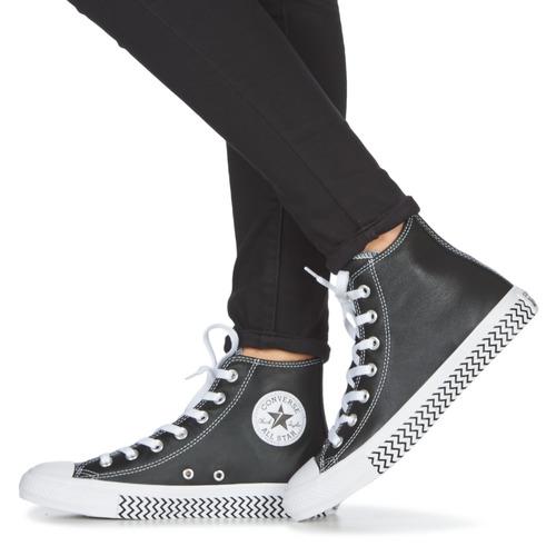 Converse Chuck Taylor All Star Vltg Leather Hi Black - Ilmainen Toimitus- Kengät Korkeavartiset Tennarit Naiset 60