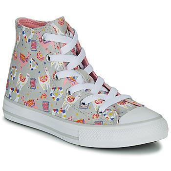 kengät Tytöt Korkeavartiset tennarit Converse CHUCK TAYLOR ALL STAR LLAMA HI Grey / Monivärinen