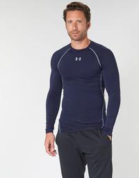 vaatteet Miehet T-paidat pitkillä hihoilla Under Armour HEATGEAR ARMOUR LS COMPRESSION Laivastonsininen