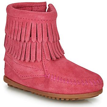 kengät Tytöt Bootsit Minnetonka DOUBLE FRINGE SIDE ZIP BOOT Vaaleanpunainen