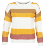 vaatteet Naiset Neulepusero Roxy TRIP FOR TWO STRIPE White / Yellow