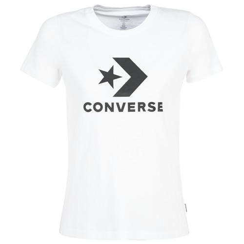 vaatteet Naiset Lyhythihainen t-paita Converse STAR CHEVRON White