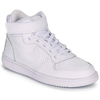kengät Lapset Korkeavartiset tennarit Nike COURT BOROUGH MID PRE-SCHOOL White