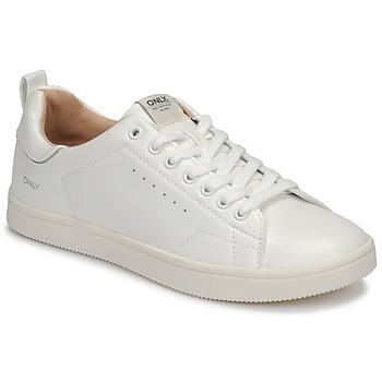 kengät Naiset Matalavartiset tennarit Only SHILO PU White / Hopea