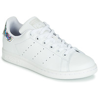 kengät Tytöt Matalavartiset tennarit adidas Originals STAN SMITH J White / Hopea