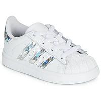 kengät Tytöt Matalavartiset tennarit adidas Originals SUPERSTAR EL I White / Hopea