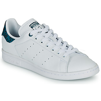 kengät Naiset Matalavartiset tennarit adidas Originals STAN SMITH W White / Blue / Beige / marine