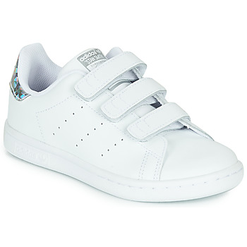 kengät Tytöt Matalavartiset tennarit adidas Originals STAN SMITH CF C White / Hopea