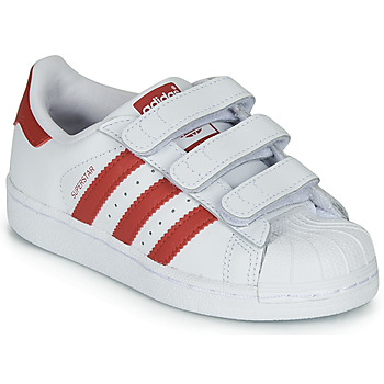kengät Lapset Matalavartiset tennarit adidas Originals SUPERSTAR CF C White / Red