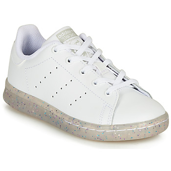 kengät Tytöt Matalavartiset tennarit adidas Originals STAN SMITH C White / Glitter