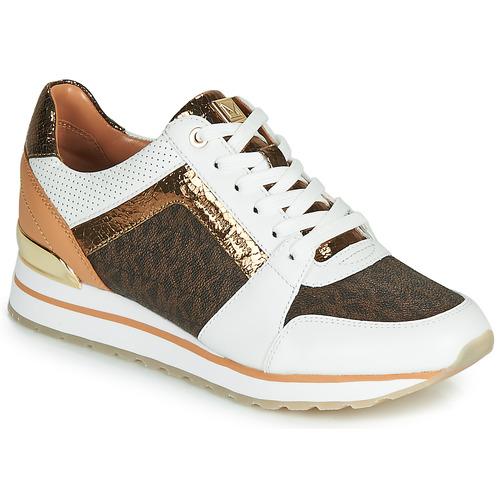 kengät Naiset Matalavartiset tennarit MICHAEL Michael Kors BILLIE TRAINER White / Brown